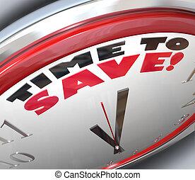 tid, till räddningen, klocka, pengar, besparingar, rikedom