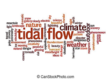 Tidal flow cloud concept on white background