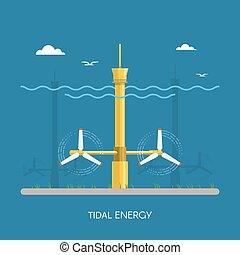 Tidal power plant and factory. Water turbines. Green energy industrial concept. Vector illustration in flat style. Electricity station background.