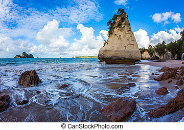 Tidal wave. Sunset - Tidal wave in Cathedral Cove. Huge ...