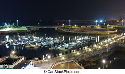 Tide and marina - Closeup of Entire Night view Timelapse of...