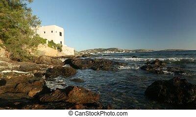 Tide in the Bay of the Aegean sea