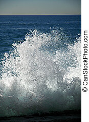 tide wave frozen in time, blue sea, white foam