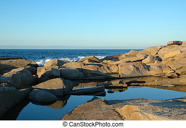Blue sky reflected in a tide pool at the edge of the Atlantic Ocean