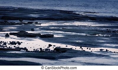 Tide Pools At Sunset - Tide pools by the sea in pretty...