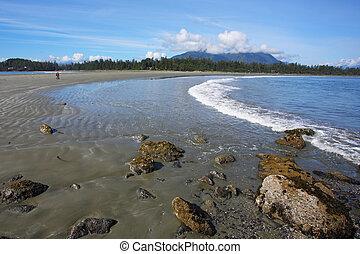 tide, sandstrand, beginnt