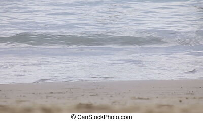 Tide - Tidal waves crushing against sandy beach.