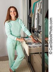 tidies, gaveta, meias, t-shirts., roupa interior, mulher, bonito, cima, jovem, roupas, storage.