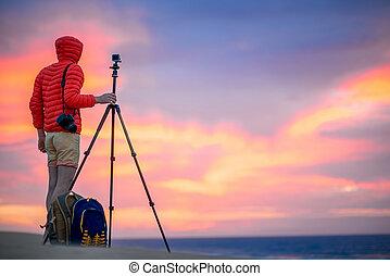 tidigt, fotograf, utanför, arbete, morgon