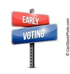 tidigt, omröstning, design, illustration, underteckna