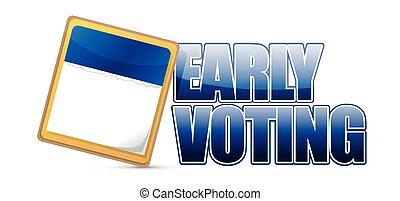 tidigt, underteckna, omröstning, kalender