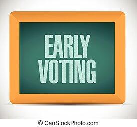 tidigt, underteckna, omröstning, meddelande