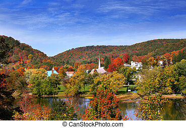 Scenic Tidioute Small town in Pennsylvania state in autumn time