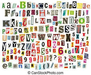 tidning, alfabet