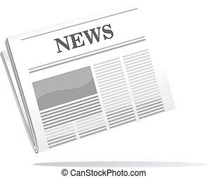 tidning, dykning, ikon, hoplagd, nyheterna