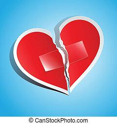 tidning hjärta, sönderrivet, tejpa, stadig