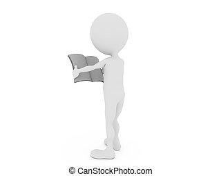 tidning, isolerat, man, tom, 3, vit