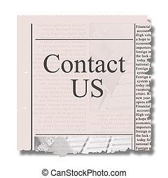 tidning, kontakt oss, stycke