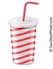 tidning kopp, med, soda