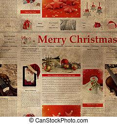 tidning, pattern., struktur, repeterande, seamless, jul, ...