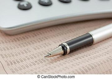 tidning, räknemaskin, finansiell, penna