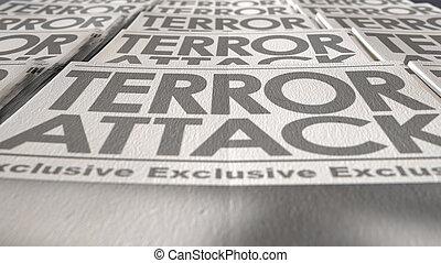 tidning, terrorism, press, springa, avsluta