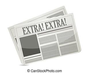 tidningar, visande, meddelande, extra