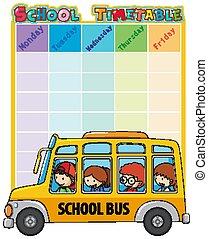 tidtabell, buss, skola skämtar, mall