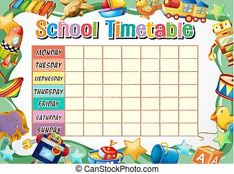 tidtabell, skola, mall, toys