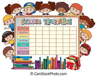 tidtabell, skola, planerande, tecken