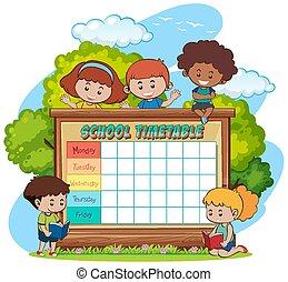 tidtabell, skola, planläggare, tecken