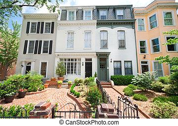 Tidy Second Empire Style Row Homes, Brick Path, Washington...