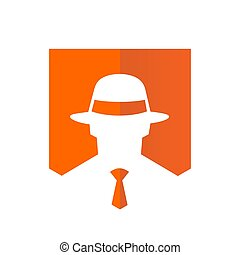 Tie and Fedora hat Logo, Vector Illustration Design.