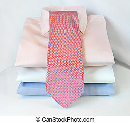 Tie and shirts - Three formal shirts and modern pink tie