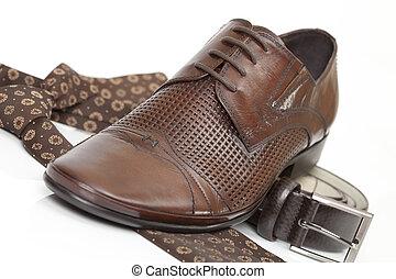 Tie, belt and shoe