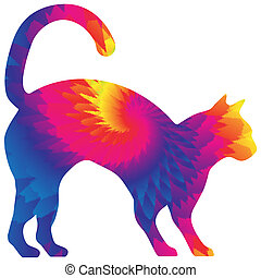 Tie Dye Cat in Bright Colors Isolated on White with Clipping Path for Sublimation Designs