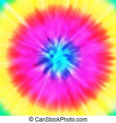 Tie-Dye - Realistic circular tie-dye illustration in a...