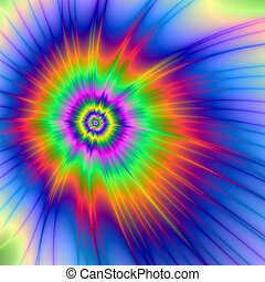 Tie Dye Fireball - A digital abstract fractal image with a...