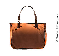 Tie dye orange handbag isolated on white background....