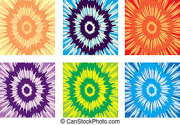 An illustration of a variety of different colored tie-dye backgrounds.