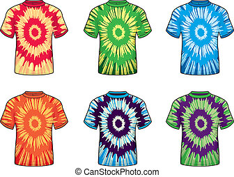 A variety of different colored tie-dye shirts.