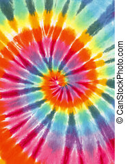 Tie Dye - Rainbow Color Spiral Fabric Isolated on White...
