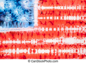 tie dye - United States of America flag. Tie dyed fabric...