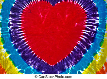 Tie-Dyed Heart - Heart design tie-dyed on fabric.