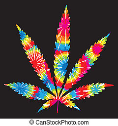Tie Dyed Pot Leaf