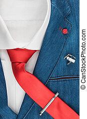 tie., fashion., mannen, jas, elegant, denim, rood