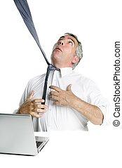 tie hangman senior businessman stressed