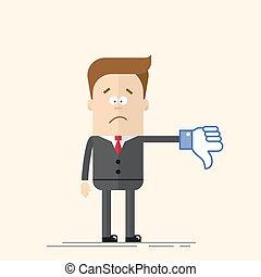 tie., mano., señal, abajo, director, cómico, style., azul, pulgar, plano, traje, aversión, exposiciones, empresa / negocio, color., triste, caricatura, hombre, vector, hombre de negocios, icon., o