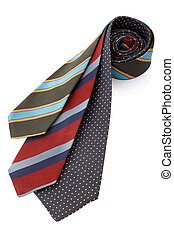 Tie or necktie set - Tie isolated on white, clipping path...