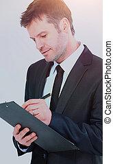 tie., schreibende, elegant, klemmbrett, tragen, klage, geschäftsmann